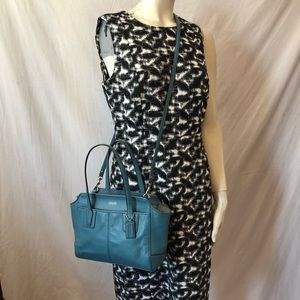 Auth Coach teal leather 2 way Crossbody bag